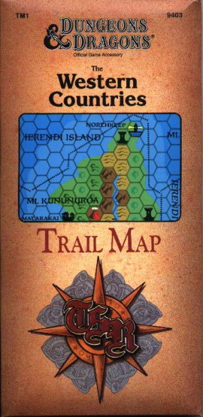 Dungeons and Dragons 1st ed: The Western Countries Trail Map - Used