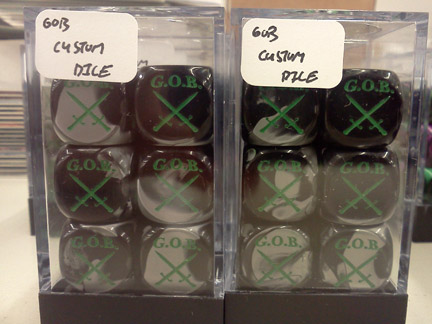 GOB Custom Dice Set: D6: Gemini - Black-Grey/Green