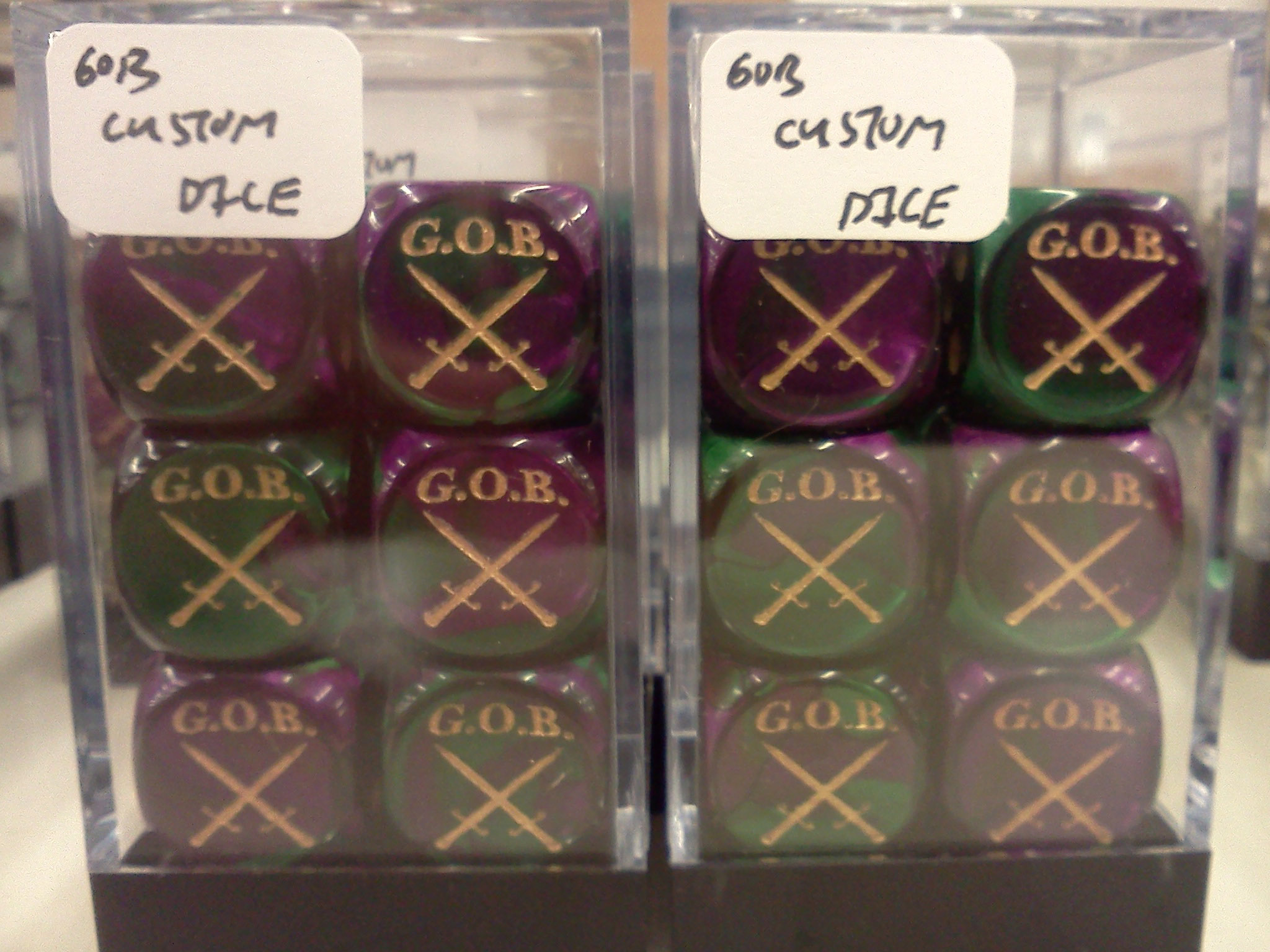 GOB Custom Dice Set: D6: Gemini: Green-Purple/Gold