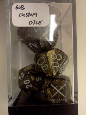 GOB Custom Dice Set: Leaf - Black Gold w/Silver