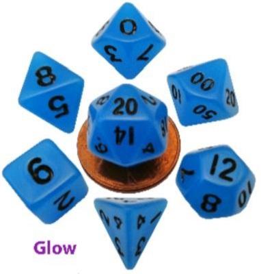 7-Set Mini: 10mm Glow Blue with Black Dice