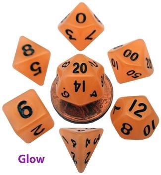 7-Set Mini: 10mm Glow Orange with Black Dice