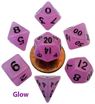 7-Set Mini: 10mm Glow Purple with Black Dice
