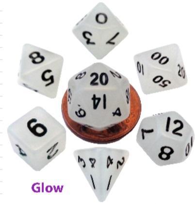 7-Set Mini: 10mm Glow Clear with Black Dice
