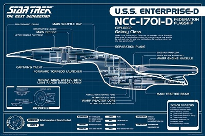 Star Trek: The Next Generation: USS Enterprise Blueprint (24x36)
