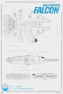 Star Wars: Millennium Falcon Blueprint (24x36)
