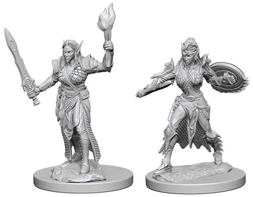 Pathfinder Deep Cuts Unpainted Minis: Elf Female Fighter