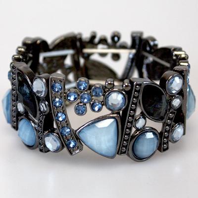 Crystal and Rhinestone: Aquamarine Bracelet