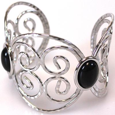Black / Silver Bangle Bracelet