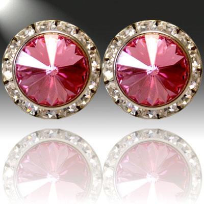 Crystal and Rhinestone: Fuchsia Earrings