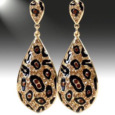 Crystal and Rhinestone: Brown Earrings