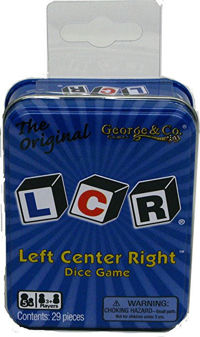 LCR: Left Center Right Dice Game: Metal Tin Blue