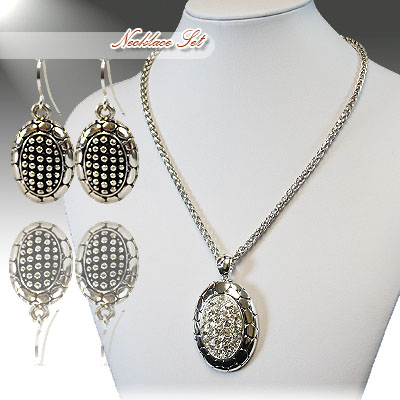 Silver Clear Necklace Set: Turtle