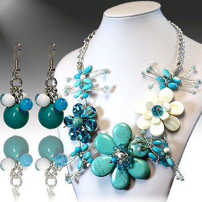 Turquoise White Flower Necklace Sets