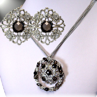 Silver / Black Necklace Sets