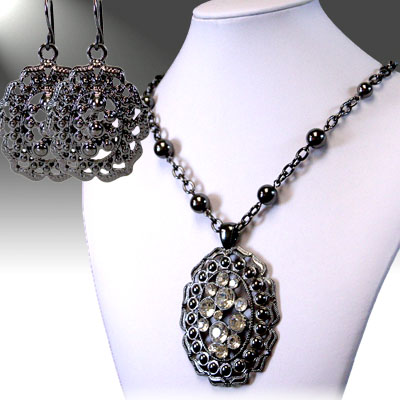 Dark / Silver / Clear Crystal and Rhinestone Necklace Sets