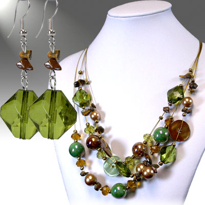 Green / Brown Necklace Sets
