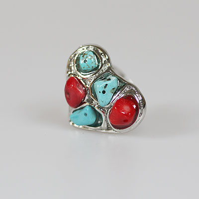 Turquoise: Red Adjustable Ring
