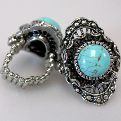 Antique Silver Turquoise Adjustable Ring