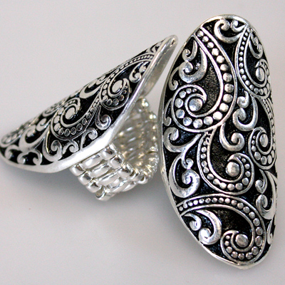 Silver / Black Adjustable Ring