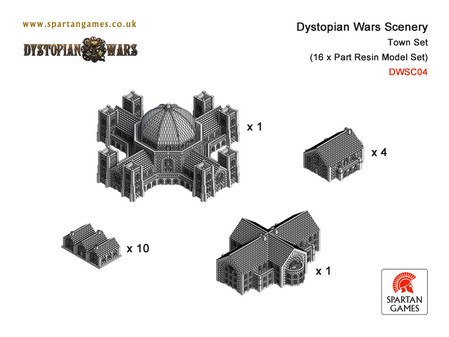Dystopian Wars: Scenery: 16 Part Town Set: DWSC04
