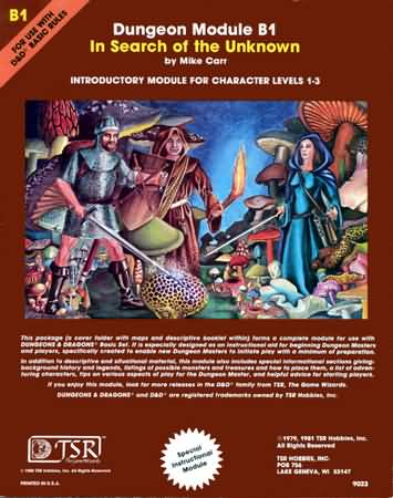 Dungeons and Dragons Basic Ed: In Search of the Unknown - Used