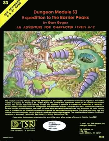 Dungeons and Dragons 1st ed: Dungeon Module S3 Expedition to the Barrier Peaks - Used
