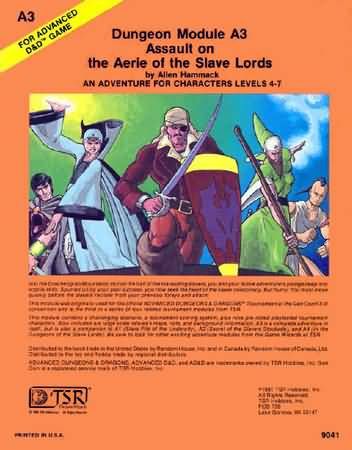 Dungeons and Dragons 1st ed: Dungeon Module A3: Assault on The Aerie of The Slave Lords - Used