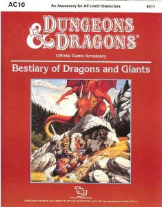 Dungeons and Dragons 1st ed: Bestiary of Dragons and Giants - Used