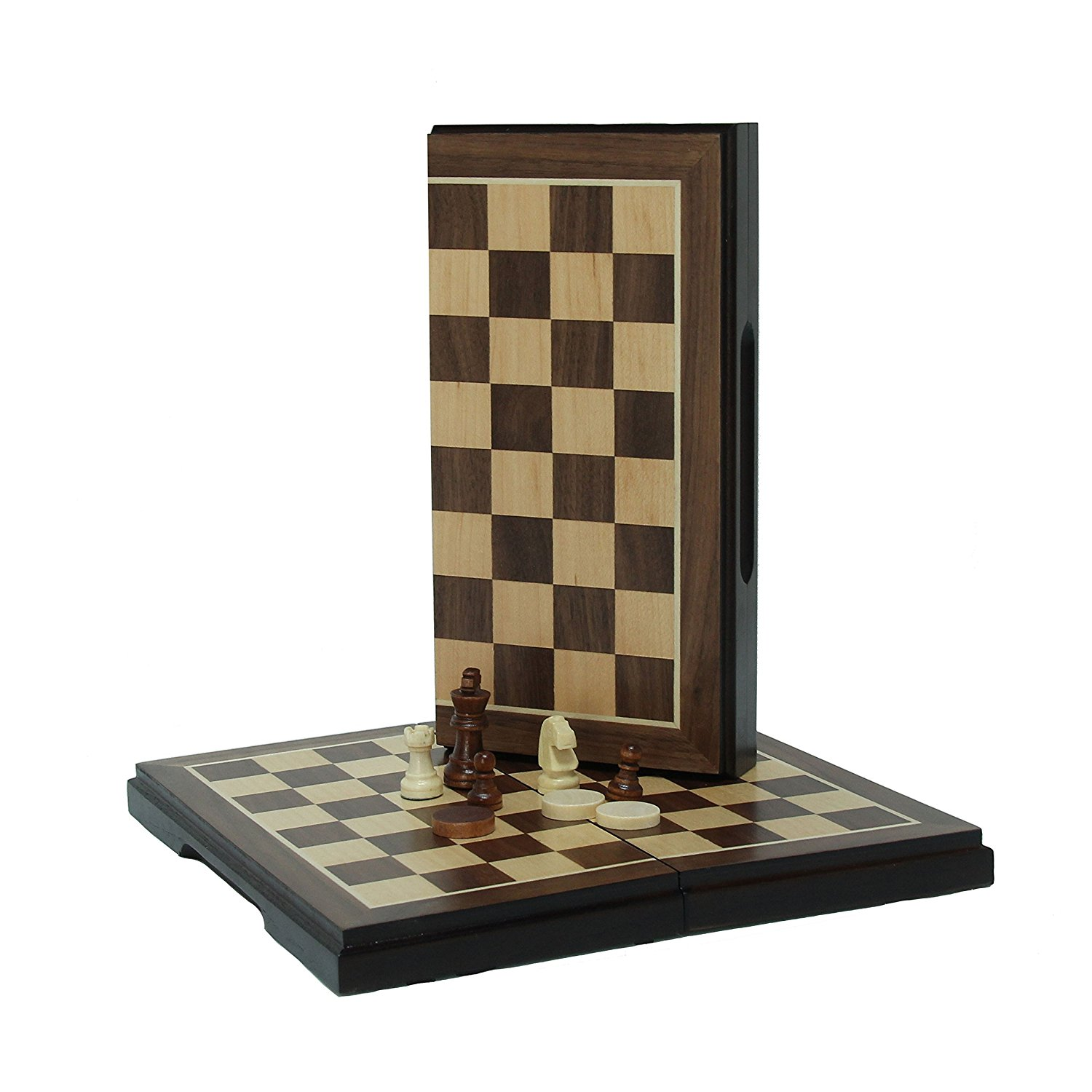 Magnetic Folding Chess and Checkers Set (Walnut Wood Finish 8 inches)