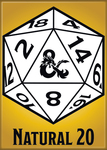 Dungeons and Dragons Magnet 2.5 X 3.5: Natural 20