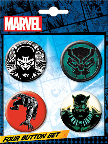 Carded 4 Button Set: Black Panther Set no. 2 86564