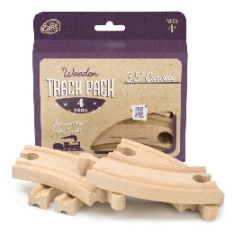 3.5in Curved Wooden Train Tracks - 4-Pack