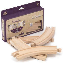 Wooden Rails: 6in Curved Wooden Train Tracks - 4-Pack