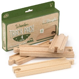 Wooden Rails: 6in Straight Wooden Train Tracks - 4-Pack
