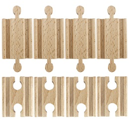 Wooden Rails: Set of 8 Male-Male Female-Female Wooden Train Track Adapters