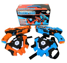 2 Pack Laser Tag Toy Blasters with 2 Vests, and 12 Batteries