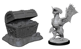 Dungeons and Dragons Nolzurs Marvelous Unpainted Minis Wave 13: Bronze Dragon Wyrmling and Treasure Pile