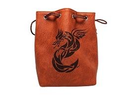 Brown Leather Lite Dice Bag: Celtic Knot Dragon