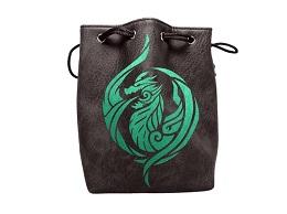 Brown Leather Lite Dice Bag: Dragon's Breath