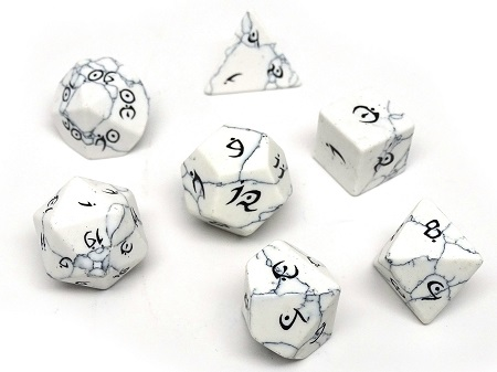 Stone Dice Collection: White Howlite - Elvenkind Font