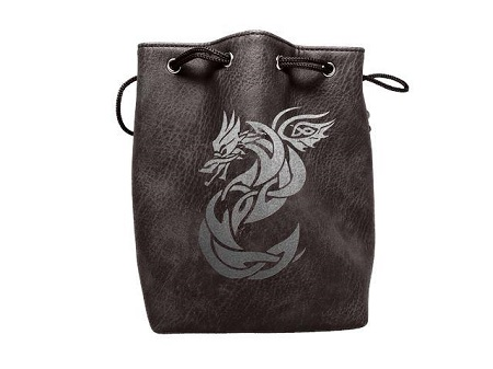 Black Leather Lite Dice Bag: Celtic Knot Dragon