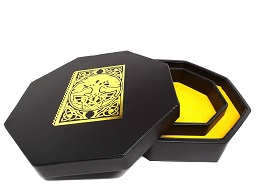 Yellow Spell Book Dice Tray With Dice Staging Area and Lid