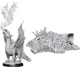 Dungeons and Dragons: Nolzur's Marvelous Unpainted Miniatures Wave 11: Gold Dragon Wyrmling and Small Treasure Pile
