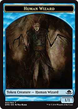 Human Wizard Token - Blue - 1/1