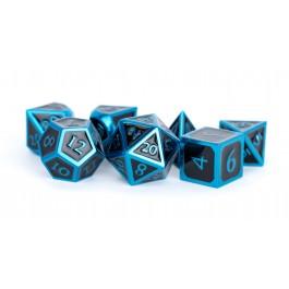 7-Set: 16mm Metal Polyhedral Dice Set: Blue with Black Enamel