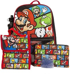 Mario 5 Piece Backpack Set