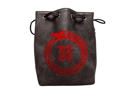 Black Leather Lite Dice Bag: Ouroboros