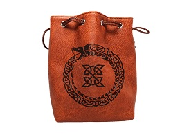 Brown Leather Lite Dice Bag: Ouroboros