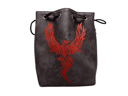 Black Leather Lite Dice Bag: Phoenix
